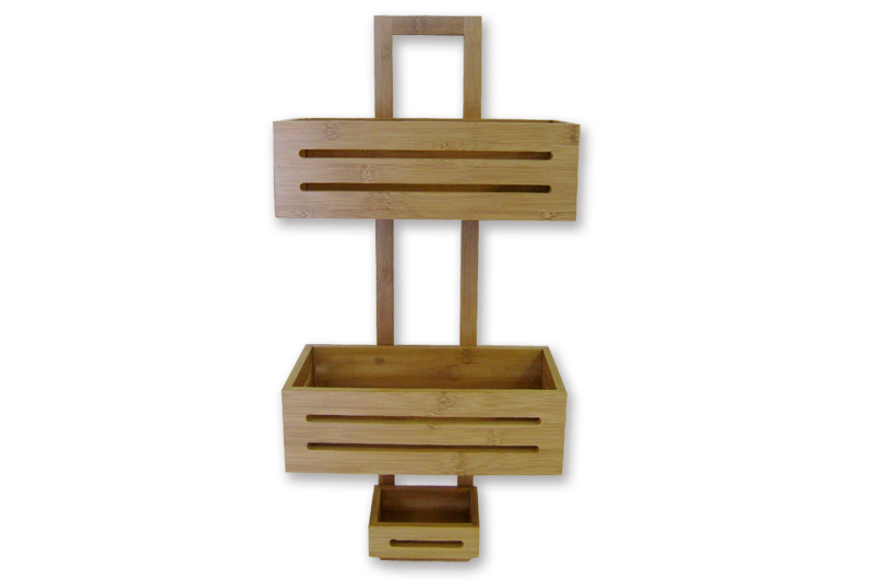 bamboo shower caddy with 3 trays